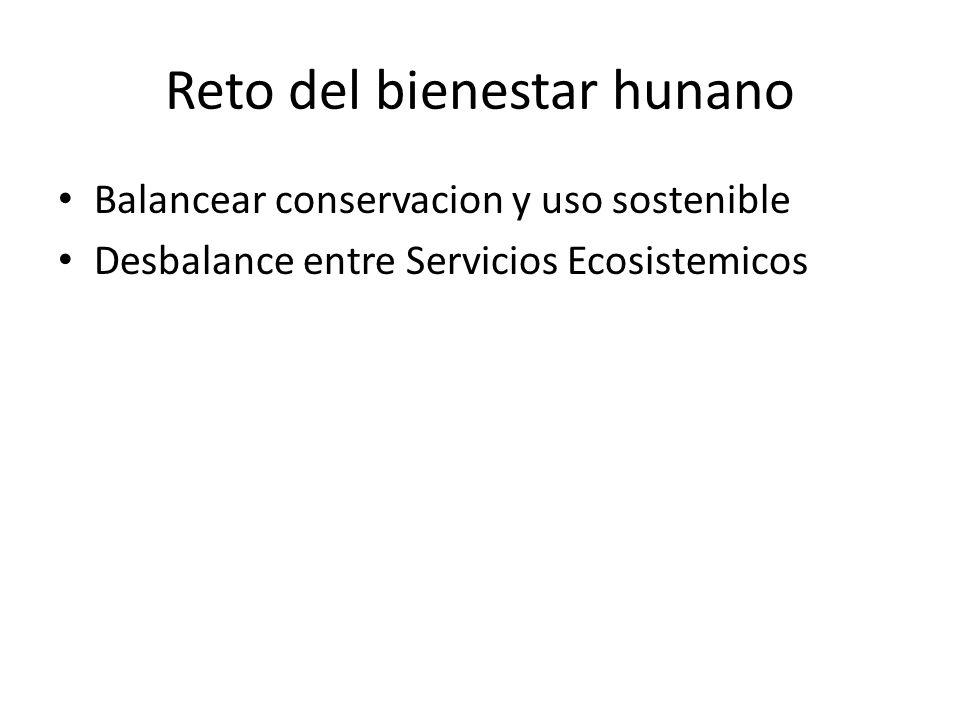 Reto del bienestar hunano Balancear conservacion y uso sostenible Desbalance entre Servicios Ecosistemicos