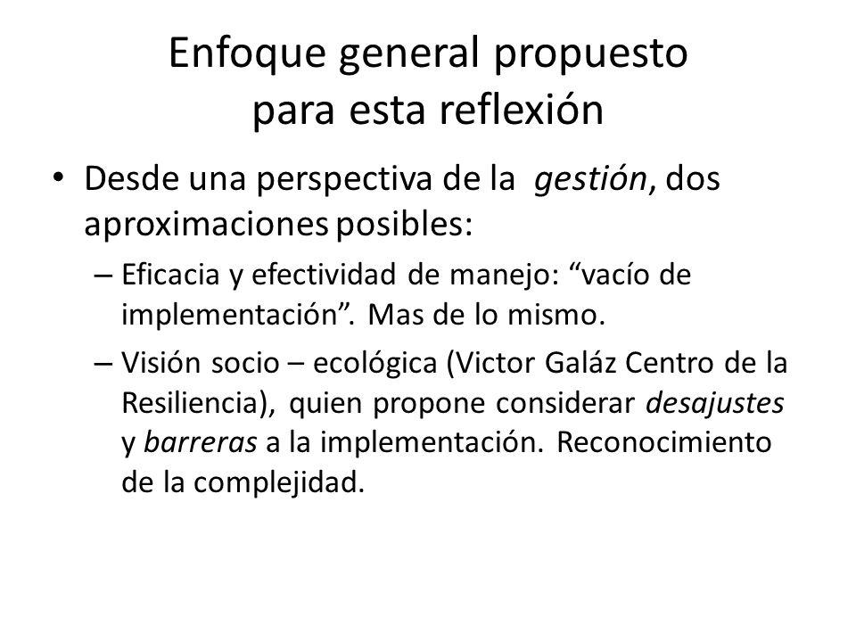 Enfoque general propuesto para esta reflexión Desde una perspectiva de la gestión, dos aproximaciones posibles: – Eficacia y efectividad de manejo: va