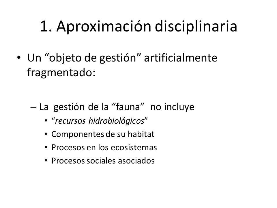 1. Aproximación disciplinaria Un objeto de gestión artificialmente fragmentado: – La gestión de la fauna no incluye recursos hidrobiológicos Component
