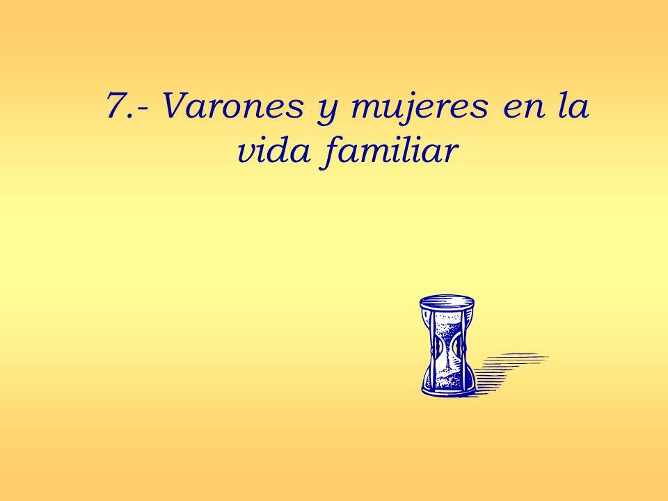 7.- Varones y mujeres en la vida familiar