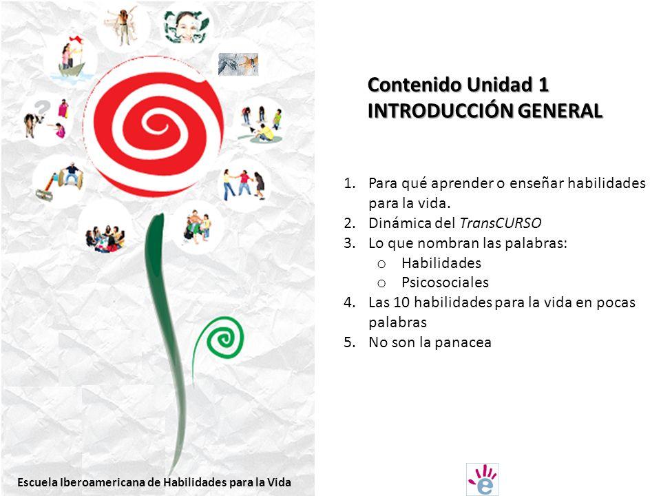 Contenido Unidad 1 INTRODUCCIÓN GENERAL 1.Para qué aprender o enseñar habilidades para la vida.