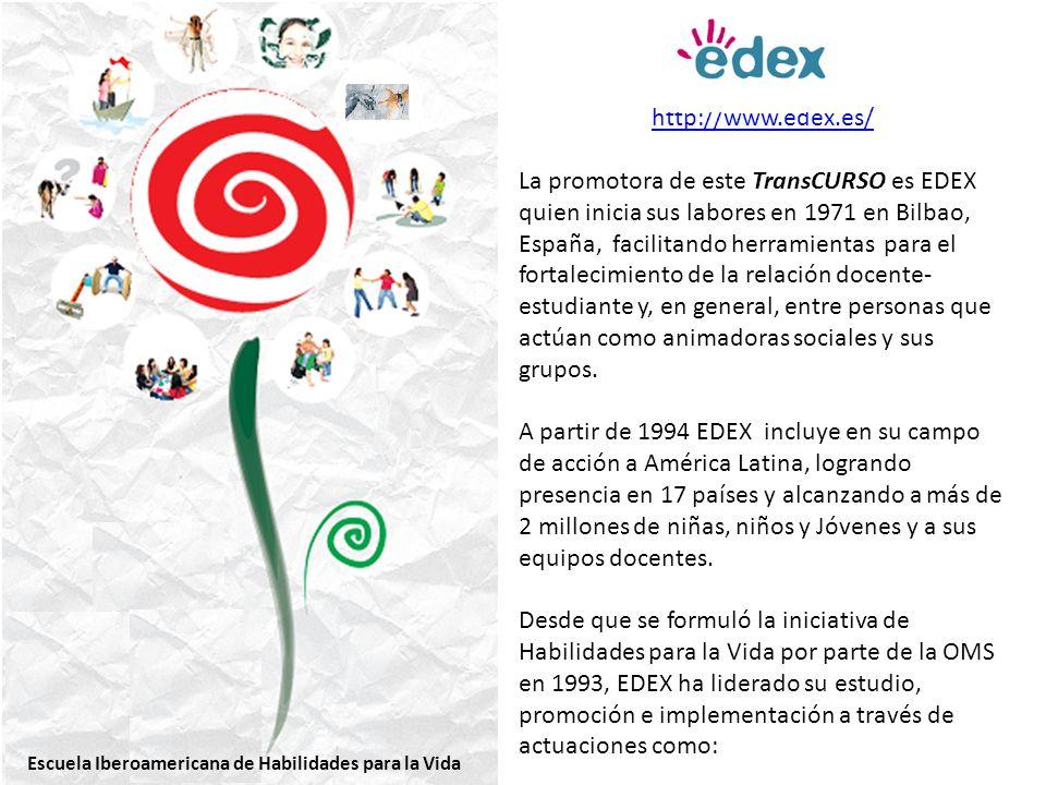 http://www.edex.es/ La promotora de este TransCURSO es EDEX quien inicia sus labores en 1971 en Bilbao, España, facilitando herramientas para el fortalecimiento de la relación docente- estudiante y, en general, entre personas que actúan como animadoras sociales y sus grupos.