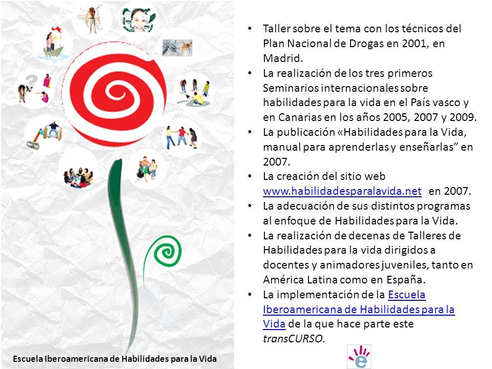 Taller sobre el tema con los técnicos del Plan Nacional de Drogas en 2001, en Madrid.