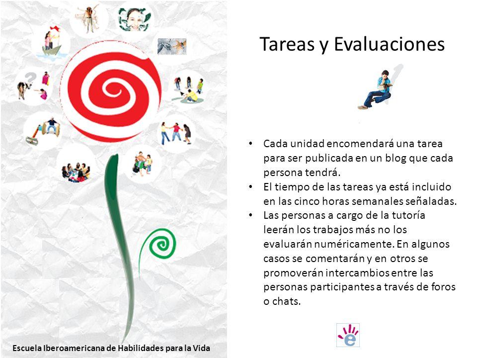 Tareas y Evaluaciones Cada unidad encomendará una tarea para ser publicada en un blog que cada persona tendrá.