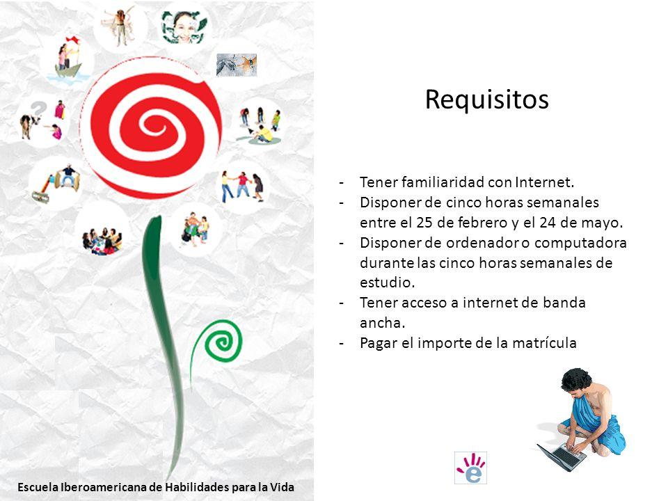 Requisitos -Tener familiaridad con Internet.