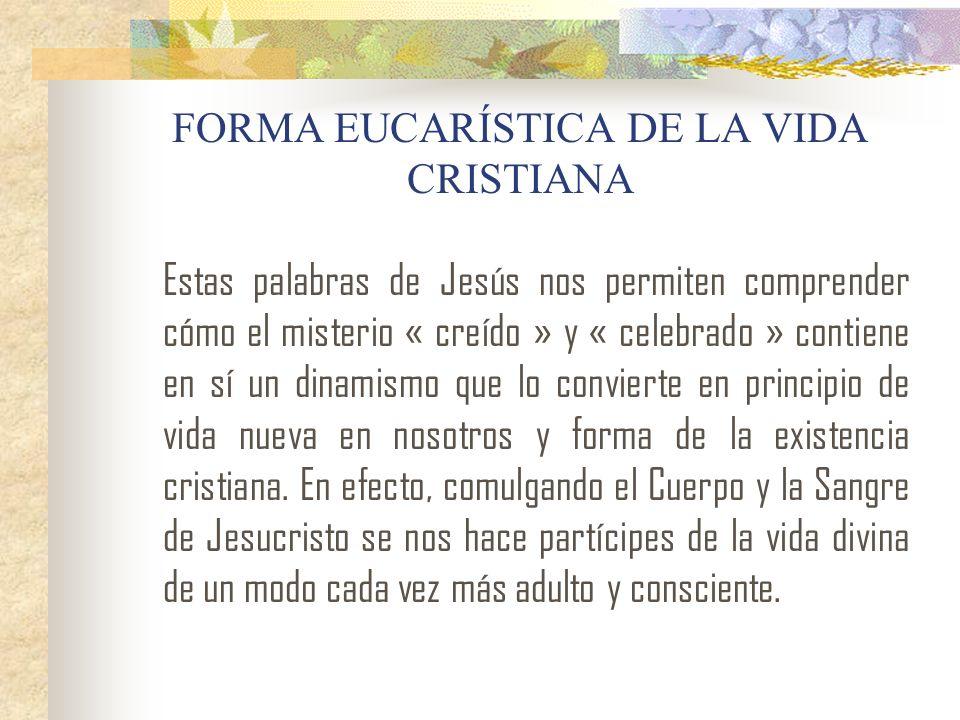FORMA EUCARÍSTICA DE LA VIDA CRISTIANA Estas palabras de Jesús nos permiten comprender cómo el misterio « creído » y « celebrado » contiene en sí un d