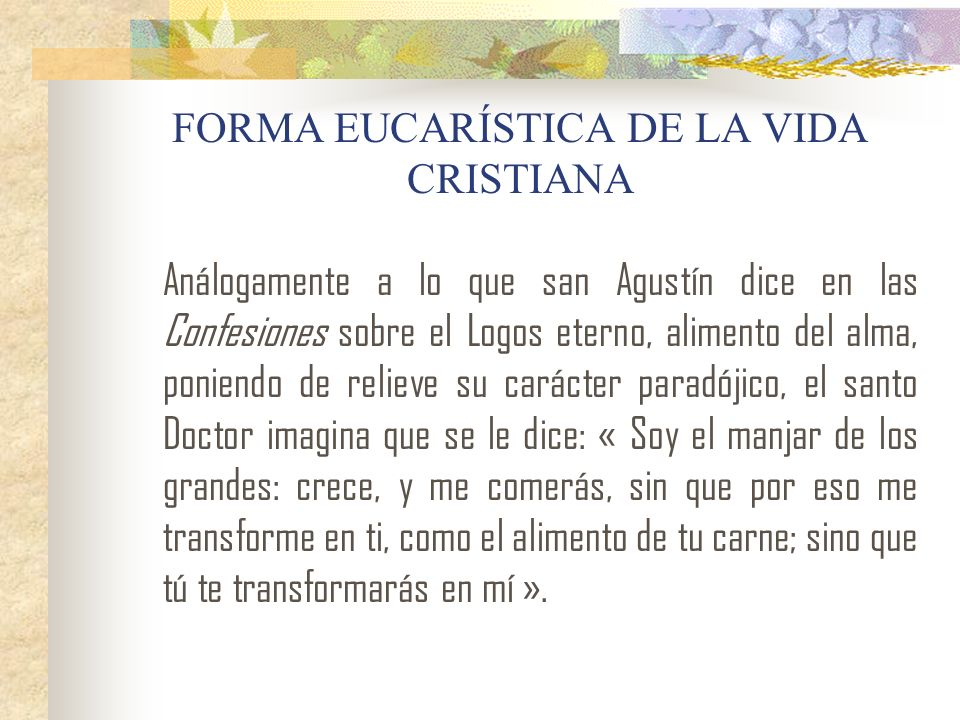 FORMA EUCARÍSTICA DE LA VIDA CRISTIANA Análogamente a lo que san Agustín dice en las Confesiones sobre el Logos eterno, alimento del alma, poniendo de