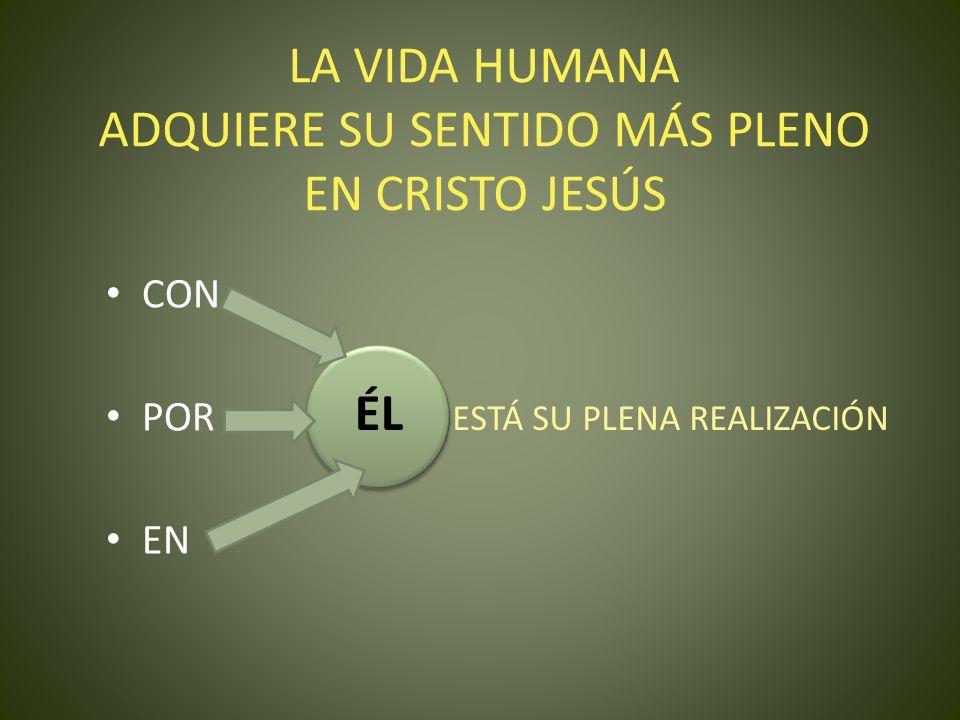LA VIDA HUMANA ADQUIERE SU SENTIDO MÁS PLENO EN CRISTO JESÚS CON POR EN ÉL ESTÁ SU PLENA REALIZACIÓN