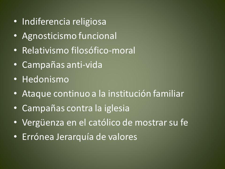 Indiferencia religiosa Agnosticismo funcional Relativismo filosófico-moral Campañas anti-vida Hedonismo Ataque continuo a la institución familiar Camp