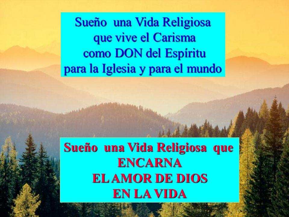Sueño una Vida Religiosa que vive el Carisma que vive el Carisma como DON del Espíritu como DON del Espíritu para la Iglesia y para el mundo Sueño una Vida Religiosa que ENCARNA EL AMOR DE DIOS EN LA VIDA