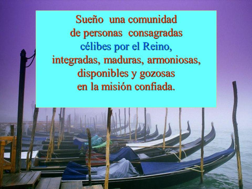 Sueño una comunidad de personas consagradas célibes por el Reino, integradas, maduras, armoniosas, disponibles y gozosas en la misión confiada.