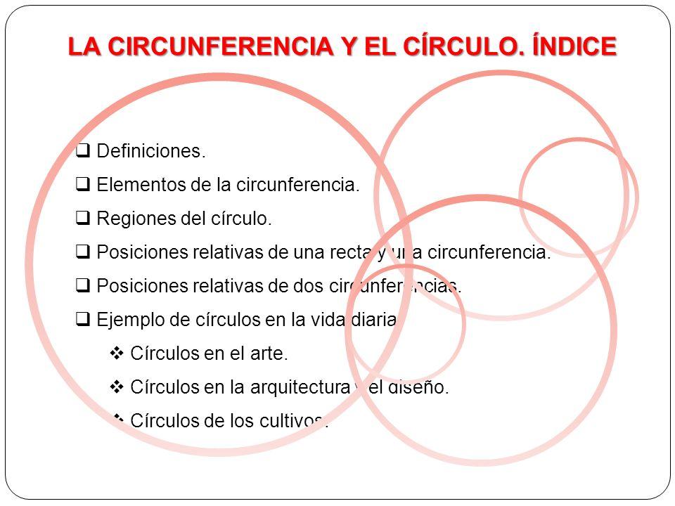 LA CIRCUNFERENCIA Y EL CÍRCULO.ÍNDICE Definiciones.