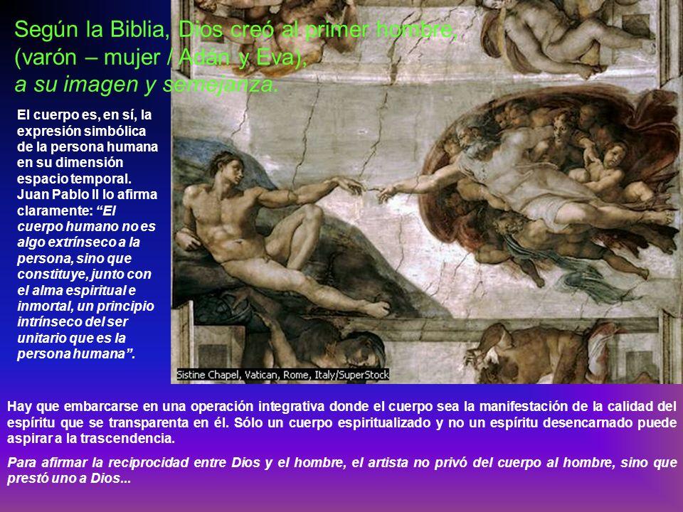 Según la Biblia, Dios creó al primer hombre, (varón – mujer / Adán y Eva), a su imagen y semejanza.