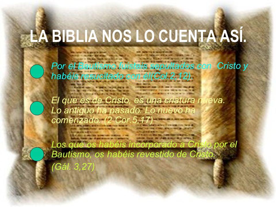 LA BIBLIA NOS LO CUENTA ASÍ. Por el Bautismo fuisteis sepultados con Cristo y habéis resucitado con él(Col.2,12). El que es de Cristo, es una criatura