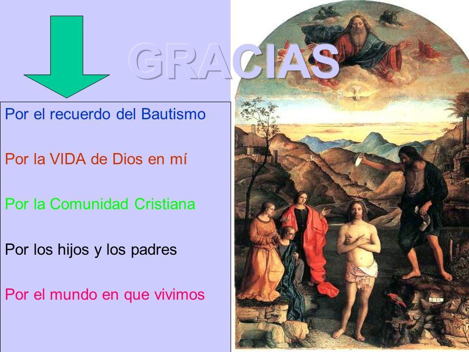 Por el recuerdo del Bautismo Por la VIDA de Dios en mí Por la Comunidad Cristiana Por los hijos y los padres Por el mundo en que vivimos