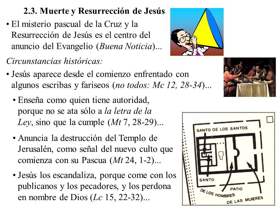 2.3. Muerte y Resurrección de Jesús El misterio pascual de la Cruz y la Resurrección de Jesús es el centro del anuncio del Evangelio (Buena Noticia)..