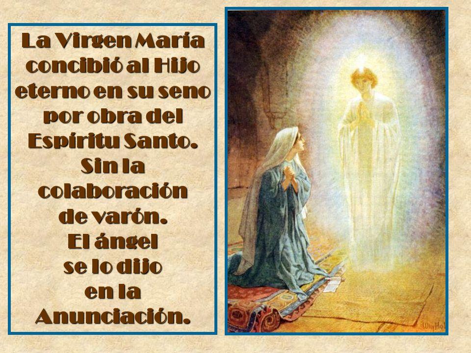 La Virgen María concibió al Hijo eterno en su seno por obra del Espíritu Santo. Sin la colaboración de varón. El ángel se lo dijo en la Anunciación.