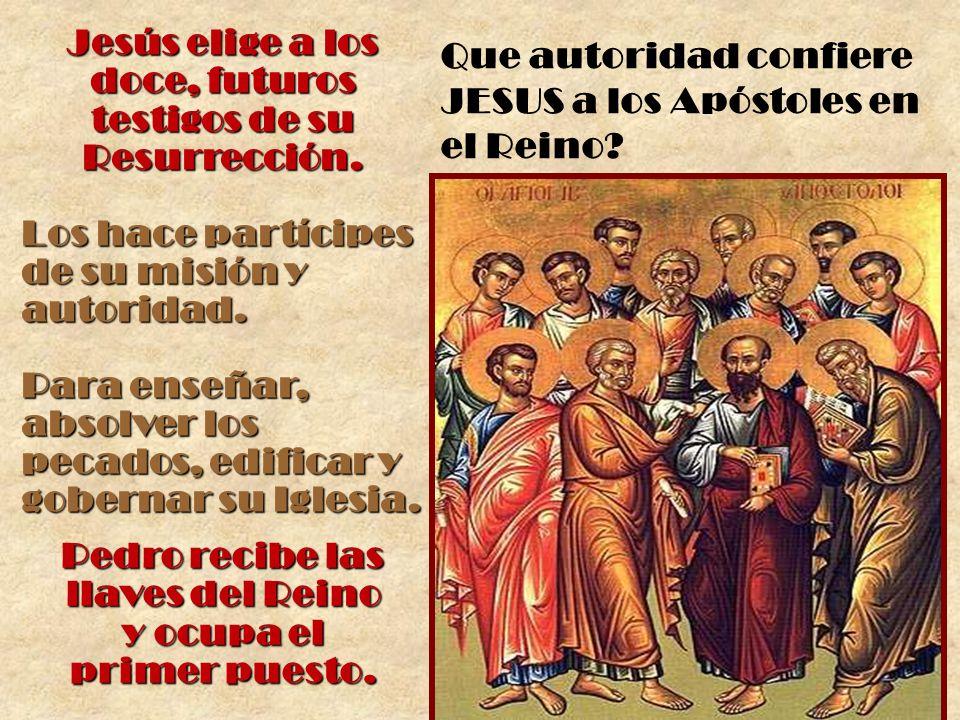 Jesús elige a los doce, futuros testigos de su Resurrección. Los hace partícipes de su misión y autoridad. Para enseñar, absolver los pecados, edifica