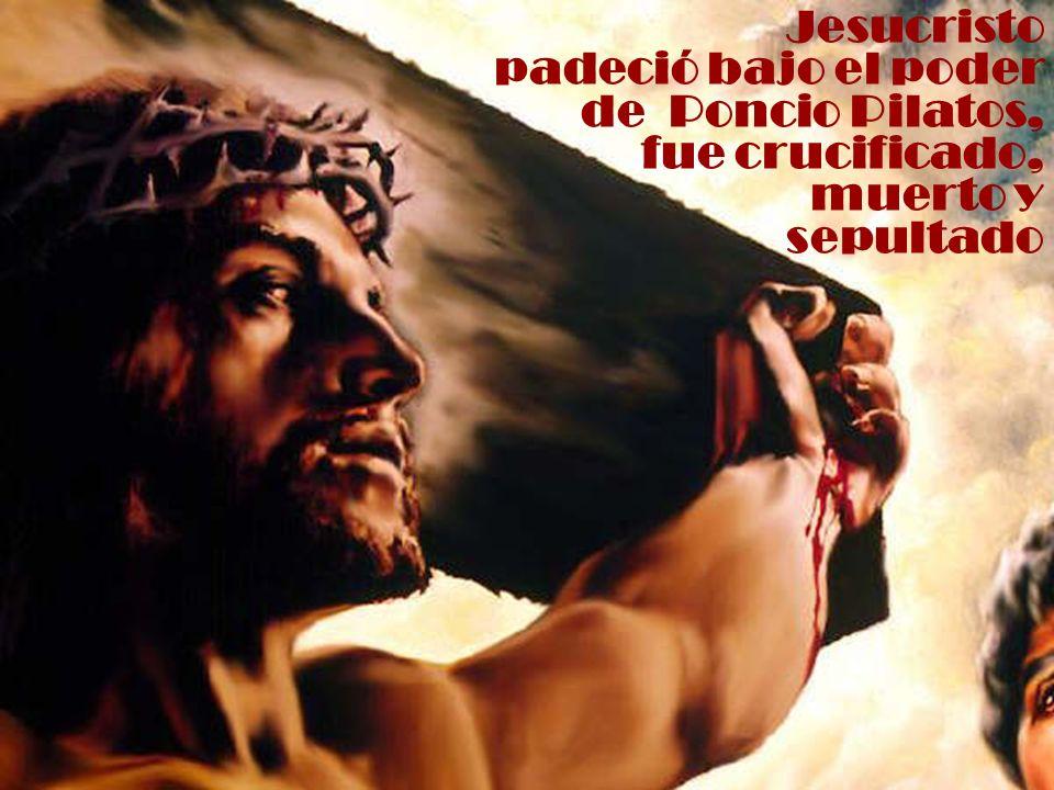 Jesucristo padeció bajo el poder de Poncio Pilatos, fue crucificado, muerto y sepultado