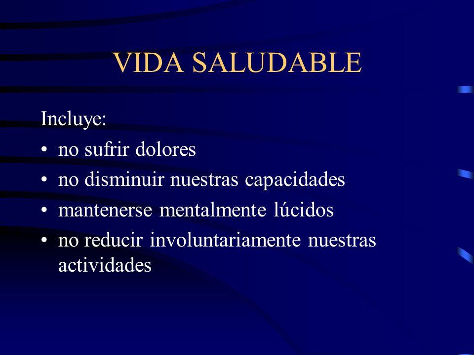 VIDA SALUDABLE Incluye: no sufrir dolores no disminuir nuestras capacidades mantenerse mentalmente lúcidos no reducir involuntariamente nuestras activ