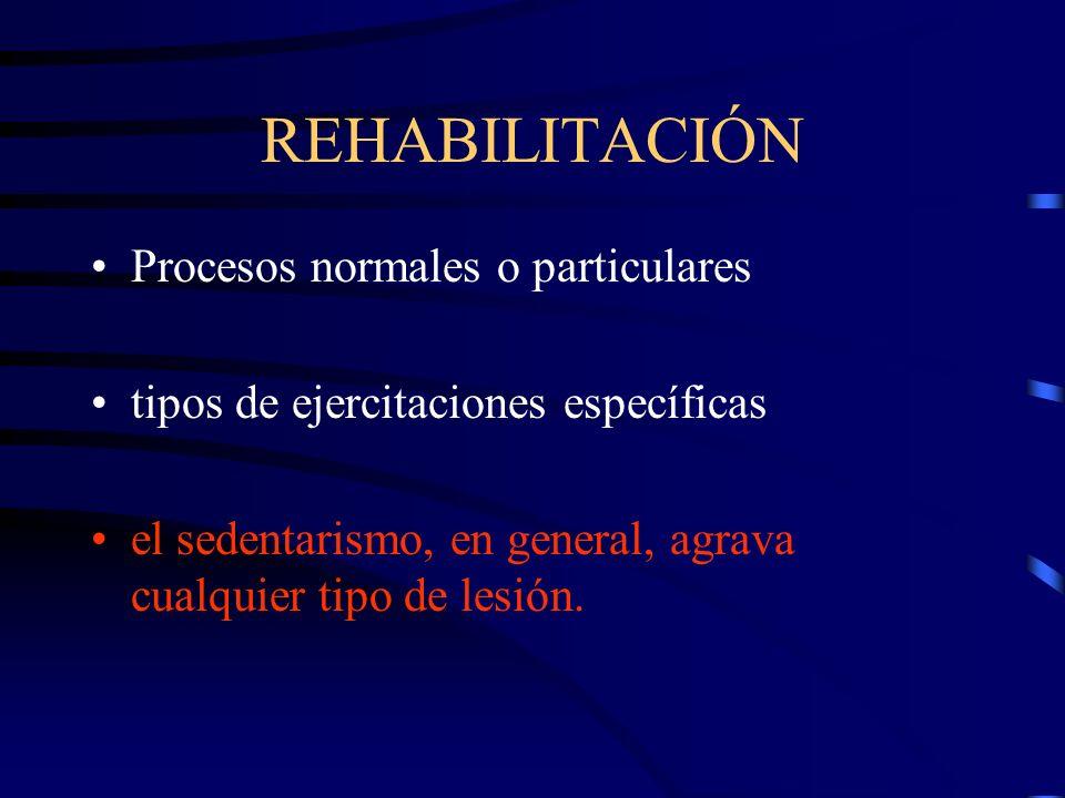 REHABILITACIÓN Procesos normales o particulares tipos de ejercitaciones específicas el sedentarismo, en general, agrava cualquier tipo de lesión.