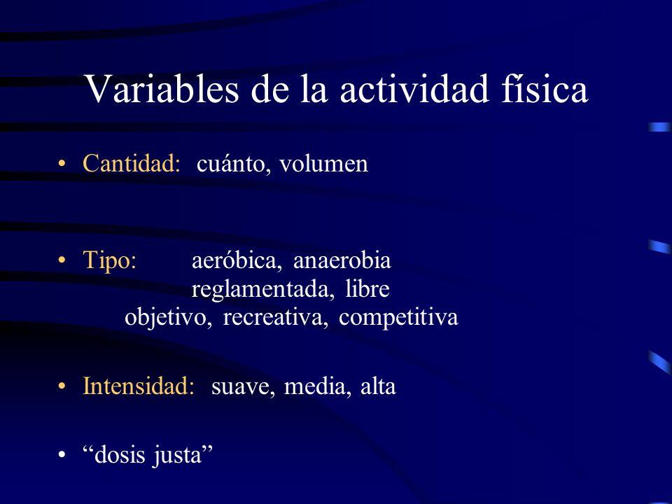 Variables de la actividad física Cantidad: cuánto, volumen Tipo: aeróbica, anaerobia reglamentada, libre objetivo, recreativa, competitiva Intensidad: