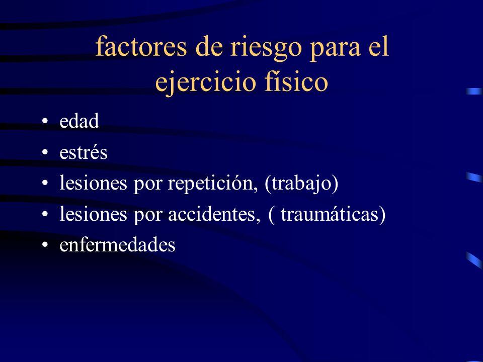 factores de riesgo para el ejercicio físico edad estrés lesiones por repetición, (trabajo) lesiones por accidentes, ( traumáticas) enfermedades