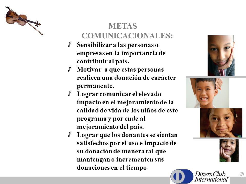 METAS COMUNICACIONALES: Sensibilizar a las personas o empresas en la importancia de contribuir al país. Motivar a que estas personas realicen una dona