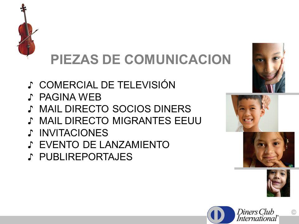 PIEZAS DE COMUNICACION COMERCIAL DE TELEVISIÓN PAGINA WEB MAIL DIRECTO SOCIOS DINERS MAIL DIRECTO MIGRANTES EEUU INVITACIONES EVENTO DE LANZAMIENTO PU