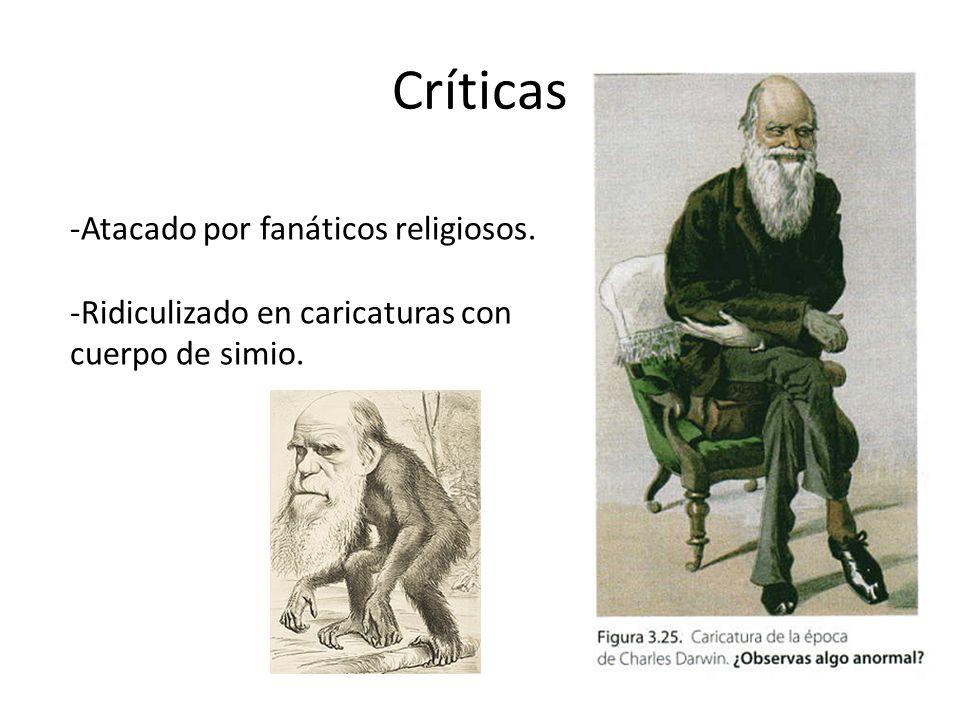 Críticas -Atacado por fanáticos religiosos. -Ridiculizado en caricaturas con cuerpo de simio.