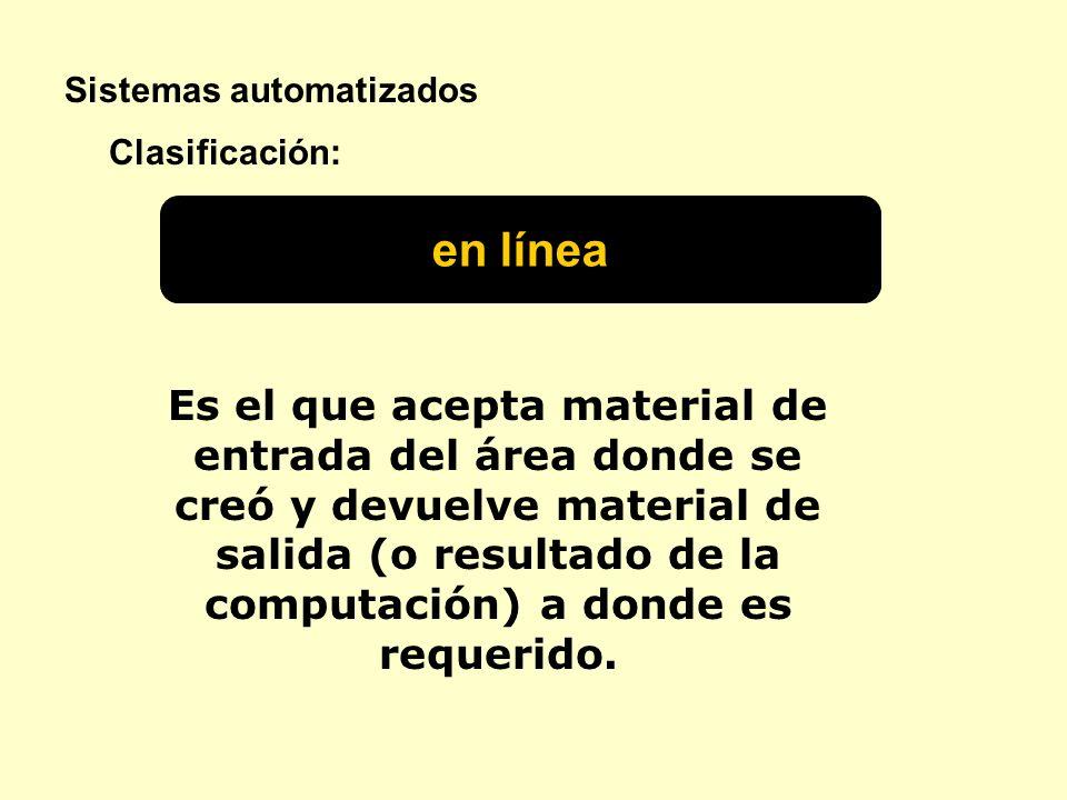 Sistemas automatizados en línea Clasificación: Es el que acepta material de entrada del área donde se creó y devuelve material de salida (o resultado