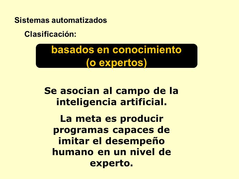 Sistemas automatizados basados en conocimiento (o expertos) Clasificación: Se asocian al campo de la inteligencia artificial. La meta es producir prog