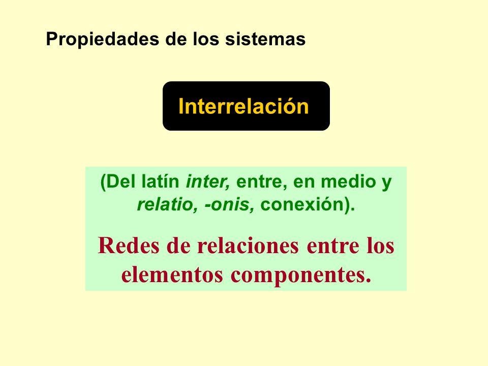 Propiedades de los sistemas Interrelación (Del latín inter, entre, en medio y relatio, -onis, conexión). Redes de relaciones entre los elementos compo