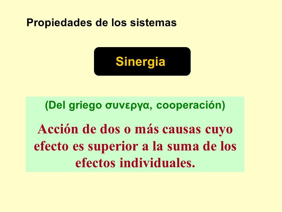 Propiedades de los sistemas Sinergia (Del griego συνεργα, cooperación) Acción de dos o más causas cuyo efecto es superior a la suma de los efectos ind