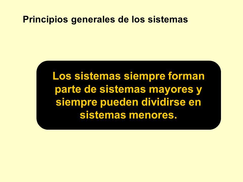 Principios generales de los sistemas Los sistemas siempre forman parte de sistemas mayores y siempre pueden dividirse en sistemas menores.