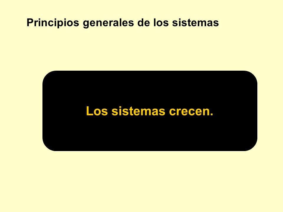 Principios generales de los sistemas Los sistemas crecen.