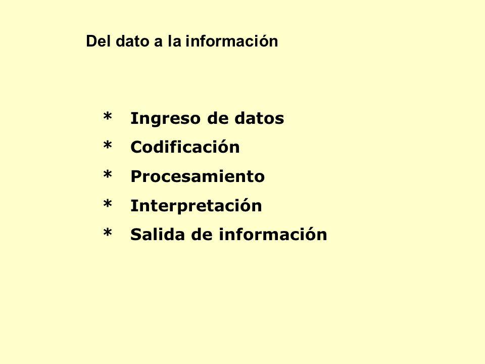 * Ingreso de datos * Codificación * Procesamiento * Interpretación * Salida de información Del dato a la información