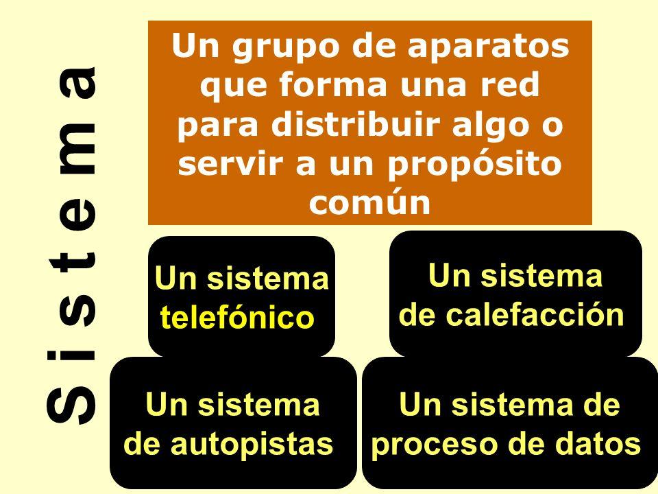 S i s t e m a Un grupo de aparatos que forma una red para distribuir algo o servir a un propósito común Un sistema telefónico Un sistema de calefacció
