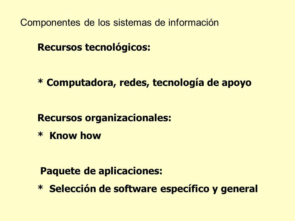 Componentes de los sistemas de información Recursos tecnológicos: * Computadora, redes, tecnología de apoyo Recursos organizacionales: * Know how Paqu
