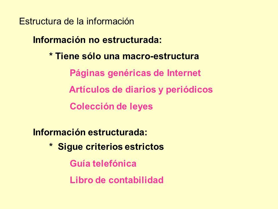 * Sigue criterios estrictos Guía telefónica Libro de contabilidad Estructura de la información Información no estructurada: * Tiene sólo una macro-est