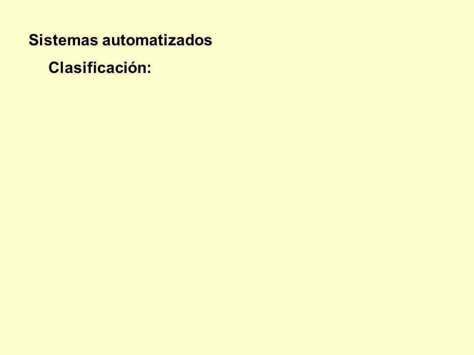Sistemas automatizados Clasificación: