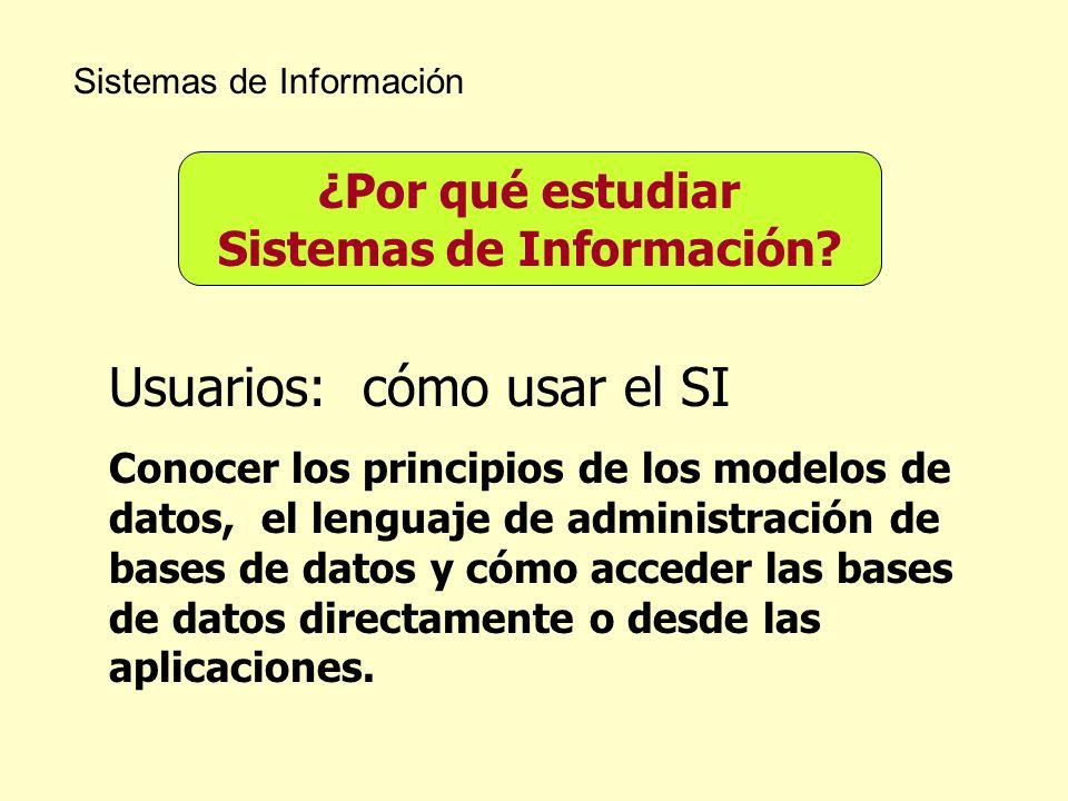 Sistemas de Información ¿Por qué estudiar Sistemas de Información? Usuarios: cómo usar el SI Conocer los principios de los modelos de datos, el lengua