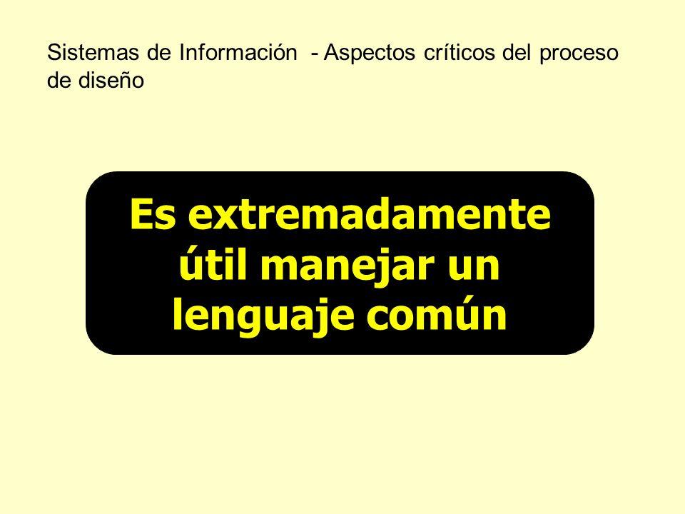 Sistemas de Información - Aspectos críticos del proceso de diseño Es extremadamente útil manejar un lenguaje común