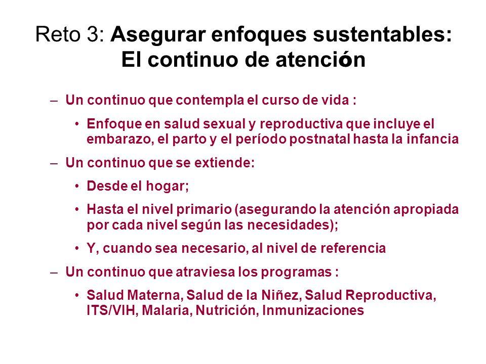 Reto 3: Asegurar enfoques sustentables: El continuo de atenci ó n –Un continuo que contempla el curso de vida : Enfoque en salud sexual y reproductiva
