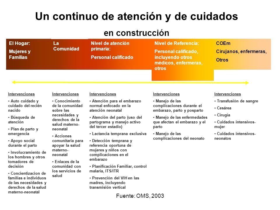 Fuente: OMS, 2003 Intervenciones Auto cuidado y cuidado del recién nacido Búsqueda de atención Plan de parto y emergencia Apoyo social durante el part