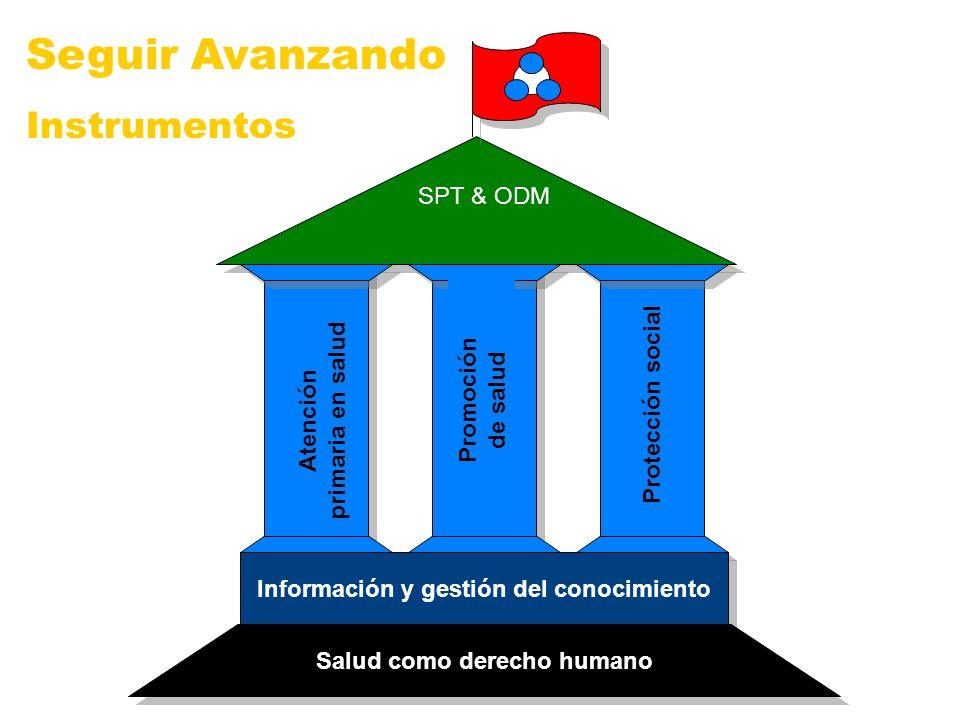SPT & ODM Información y gestión del conocimiento Salud como derecho humano Atención primaria en salud Promoción de salud Protección social Seguir Avan
