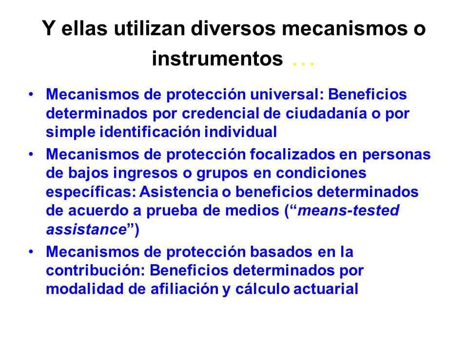 Y ellas utilizan diversos mecanismos o instrumentos … Mecanismos de protección universal: Beneficios determinados por credencial de ciudadanía o por s