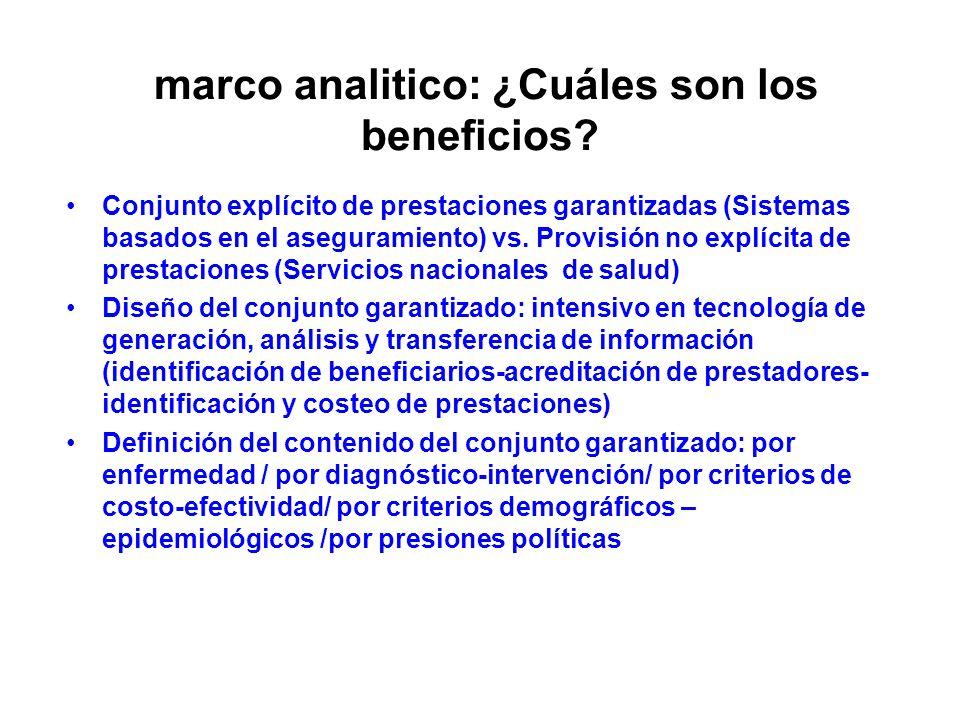 marco analitico: ¿Cuáles son los beneficios? Conjunto explícito de prestaciones garantizadas (Sistemas basados en el aseguramiento) vs. Provisión no e