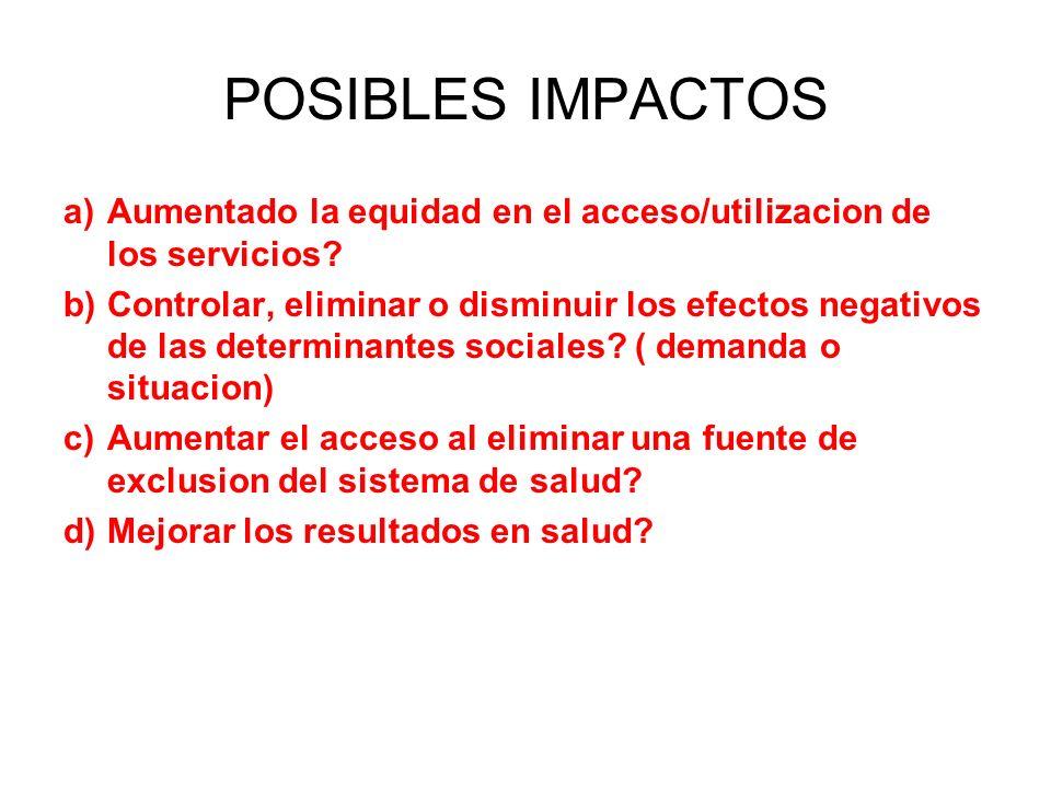 POSIBLES IMPACTOS a)Aumentado la equidad en el acceso/utilizacion de los servicios? b)Controlar, eliminar o disminuir los efectos negativos de las det