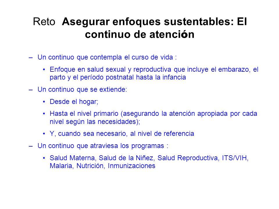 Reto Asegurar enfoques sustentables: El continuo de atenci ó n –Un continuo que contempla el curso de vida : Enfoque en salud sexual y reproductiva qu